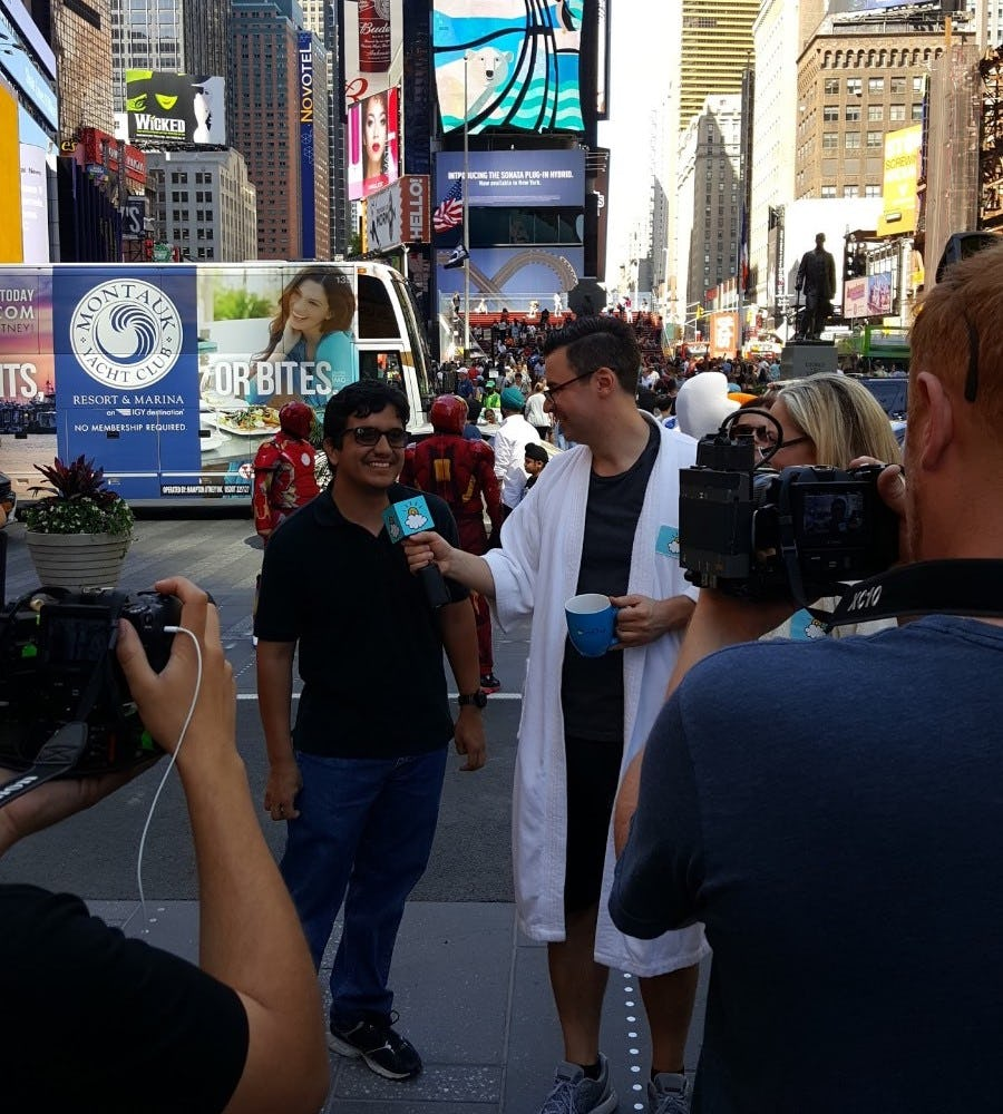 Being interviewed on Time's Square