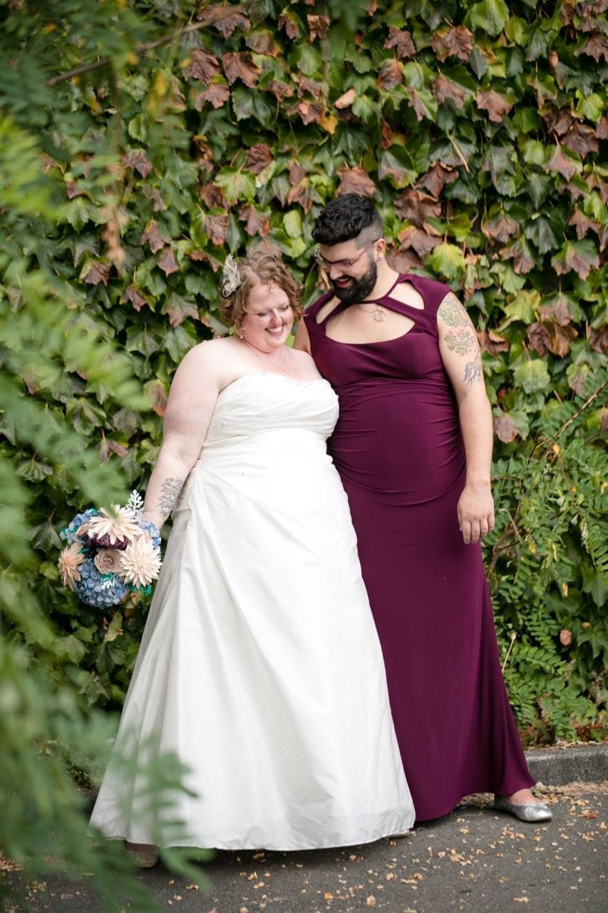My wife and me on our wedding day.