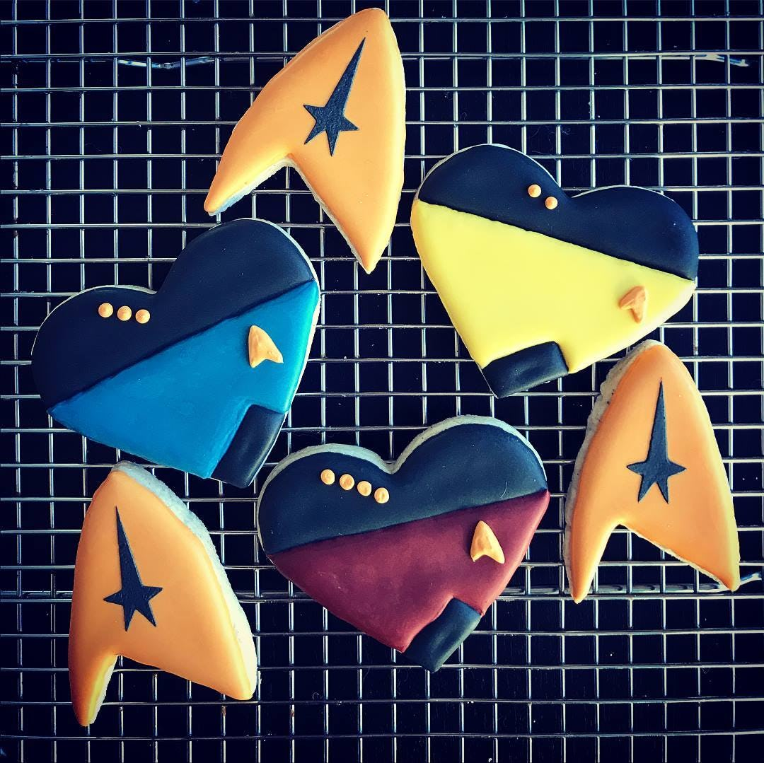 Made these nerdy cookies for a Star Trek themed Valentine's Day party.