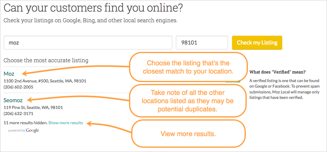 Guide to the Check Listing Tool - Help Hub - Moz