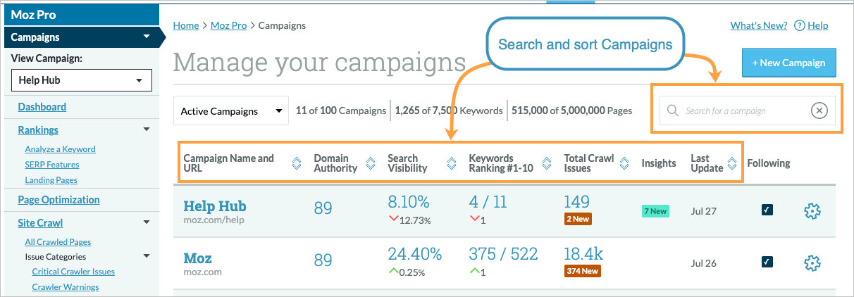 Manage Your Campaigns - Help Hub - Moz