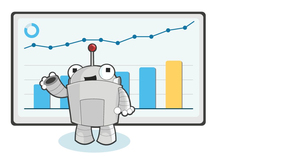 An image of Roger MozBot standing in front of a positively trending bar graph.