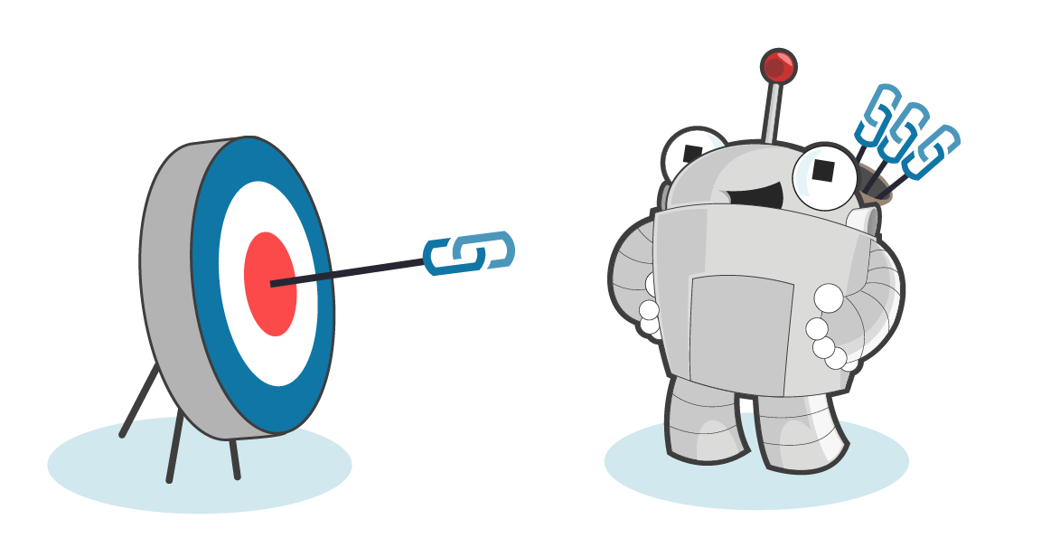 Roger MozBot with a quiver of arrows and an archery target, with arrows on the bullseye.