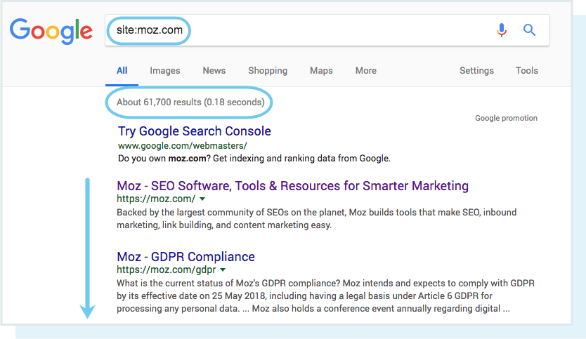 A screenshot of a site:moz.com search in Google, showing the number of results below the search box.