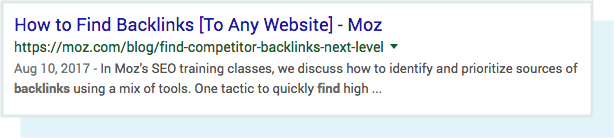 A screenshot of the meta description for the query 'find backlinks' in the SERPs.