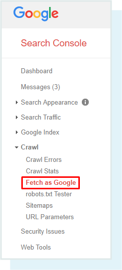 Een screenshot van waar 'Fetch as Google' te vinden is in Google Search Console.