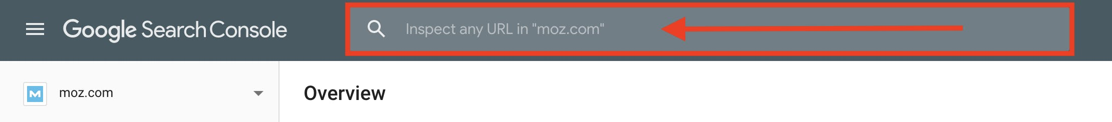 A screenshot of where to enter a page's URL in Google Search Console.