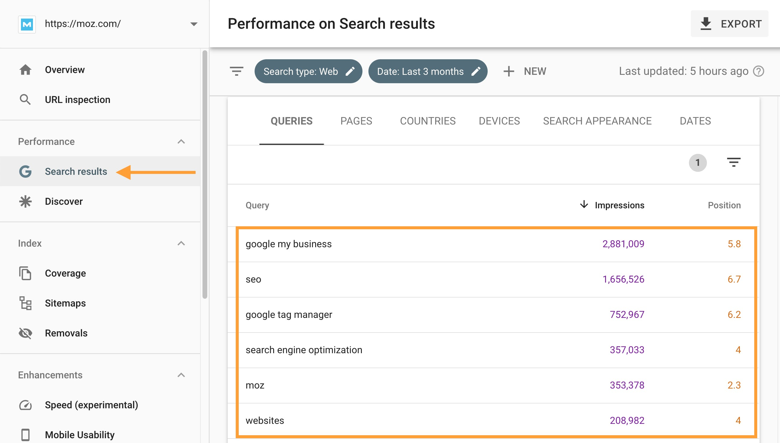 Seed keywords via Search Console