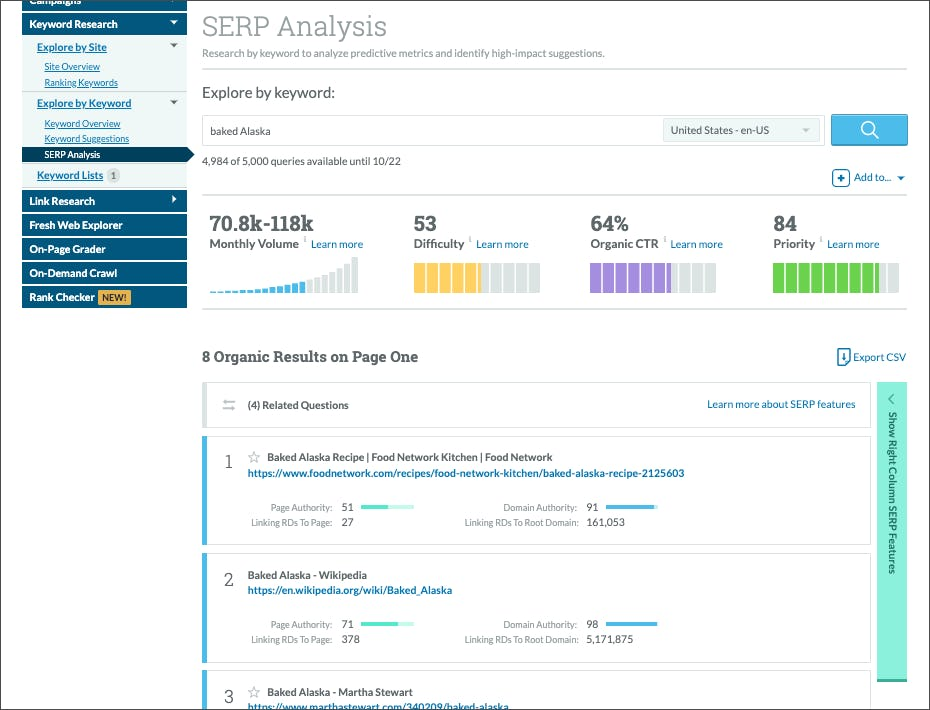 Keyword Explorer SERP Analysis