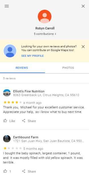 See reviews left by specific profiles.