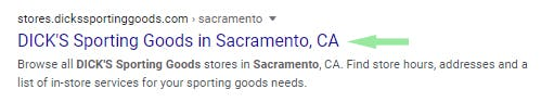 Local title tag example in SERP.