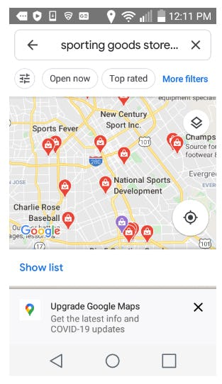 Sporting goods Google Maps results