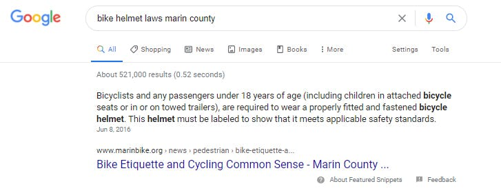 Featured Snippet for keyword: bike helmet laws marin county
