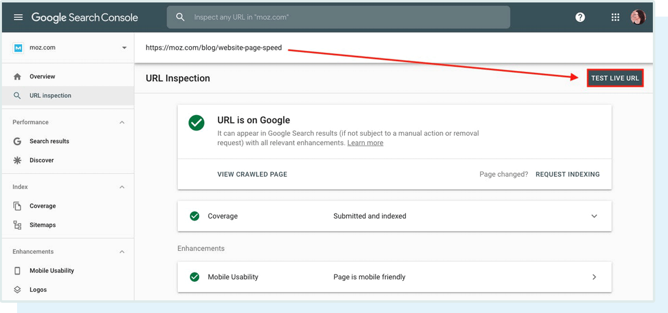Where to test the live URL version in Google Search Console.