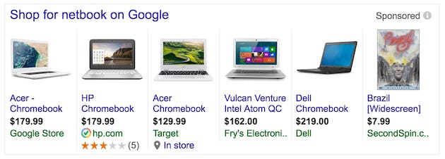 Google search result shopping items